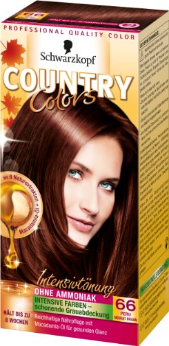 Schwarzkopf Country Colors Intensivtönung, 66 Peru Nougat Braun, 3er Pack (3 x 123 ml)