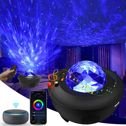 Galaxy Projector, 3 in 1 Smart Star Projector Sky Lite with Alexa, Google Assistant for Baby Kids Bedroom/Game Rooms/Home Theatre/Night Light Ambiance with Bluetooth Music Speaker
