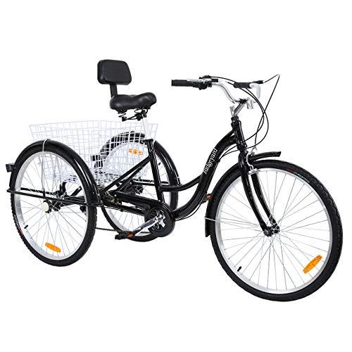 """MuGuang Triciclo Adulto 26"""" 7 velocidades Bicicleta 3 Ruedas Adulto con Cesta de la Compra(Negro)"""