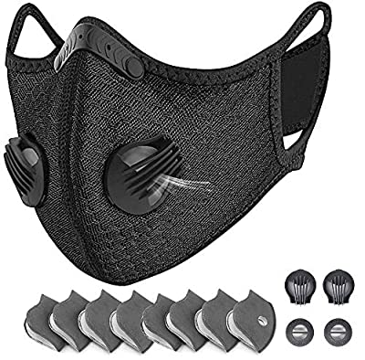 HONGYAO Reusable Dust Breathing M Earloop Dust M with Activated Carbon Filter and Valves for Allergy, Woodworking, Mowing, Outdoor Activities, Etc?Black? by