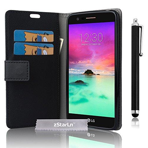 zStarLn nero luxury Portafoglio Protettiva Custodia in pelle per LG K8 2017 Cover Caso PU custodia + 3 pellicola protettiva e Stylus pen