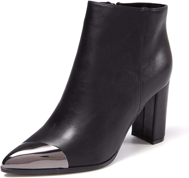 HBDLH HBDLH HBDLH Damenschuhe Grob Hacken Martin Stiefel Heel 9Cm Mit Reißverschluss Metall - Tipps Stiefel  202f74