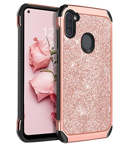 """BENTOBEN Samsung Galaxy A11 Case, 2 in 1 Hybrid Glitter Sparkle Bling Hard PC Cover Soft TPU Bumper Girls Women Rugged Shockproof Protective Phone Case for Samsung Galaxy A11 6.4"""" (2020), Rose Gold"""