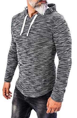 Rock Creek Herren Longsleeve Shirt Langarm Hoodie Sweatshirt Kapuzenpullover Langarmshirt Herrenpulli Street Style H-143 Schwarz M