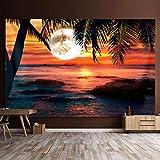 Ocean Seaside Sunset Tapiz Tapiz para colgar en la pared Tapiz psicodélico Trippy Arte de la pared Decoración del hogar Ropa de cama Colcha 230 * 180cm