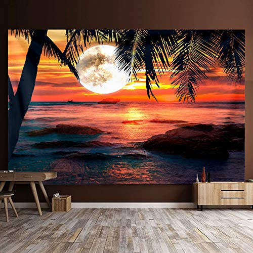 Océano Mar Atardecer Tapiz Tapiz para colgar en la pared Tapiz psicodélico Trippy Arte de la pared Decoración para el hogar Ropa de cama Colcha 150 * 130cm