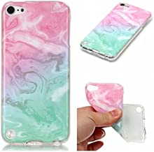 XYX iPod Touch 6 Marble Case,[Marble Pattern] Slim Shockproof Flexible TPU Soft Rubber Silicone Skin Cover for iPod Touch 7/iPod Touch 6/iPod Touch 5,Pink Green