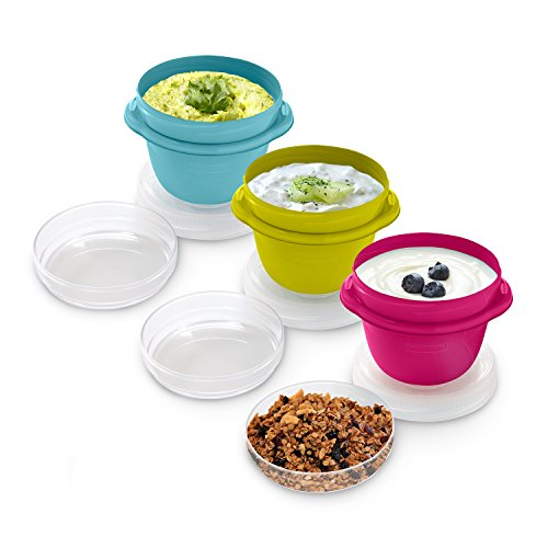 Rubbermaid TakeAlongs Snacking Food Storage Containers, 1.2 Cup, Assorted Colors, 3 Count 1967198