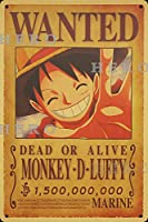 海賊アニメMONKEY D Luffyモンキー・D・ルフィ さびた錫のサインヴィンテージアルミニウムプラークアートポスター装飾面白い鉄の絵の個性安全標識警告バースクールカフェガレージの寝室に適しています