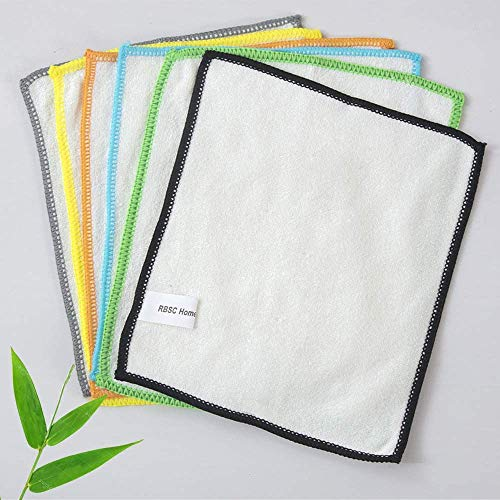 RBSC Home Bamboo Dish Cloth Kitchen Wipe 6 Washable Absorbent Durable Dish Rags 7 X 9 Inch …