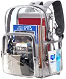 Transparent Backpack, Heavy Duty Clear Bookbag with Lock Fit 15.6 Inch