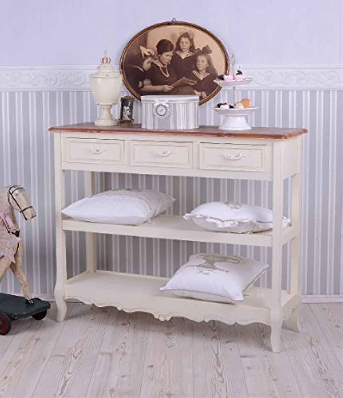 Antike Anrichte, Konsole, Sideboard, Regal, Ablage in Villa-Vintage-Art, aus Holz in der Farbe Wei, einzigartig schnes Mbelstück - Palazzo Exclusive