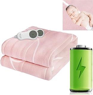 DBSCD Manta eléctrica Doble Individual,Mantas Gruesas para Invierno con termostato Doble Control,Manta calefactora Lavable,Segura para el frío Invierno,Rosa,160x140cm