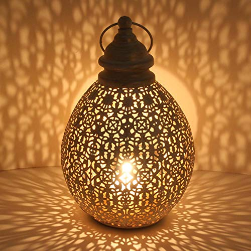 Casa Moro Orientalische Laterne Omnia M in Shabby Chic Weiß Gold Höhe 36cm aus Metall | Marokkanisches Windlicht | hängend & stehend | Tischlaterne für Hochzeit Feier Dekoration | IRL2010