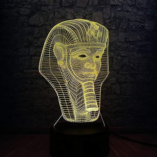 DFDLNL 3D Egipcio esfinge faraón Bombilla led lámpara USB luz Nocturna táctil Controlador RGB Color Cambio de habitación decoración Regalo