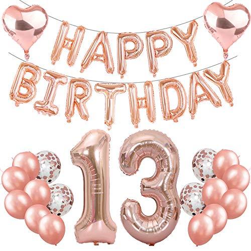 13. Geburtstag Dekoration Rosegold Geburtstag Party Deko Set, Happy Birthday Girlande Ballons Rose Gold, Riesen Folienballons Zahl 13, Konfetti Luftballons, 13. Geburtstagsdeko für Mädchen Jungen