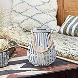 Lights4fun - Farolillo Gris di Bambú con TruGlow® Vela LED a Pilas para Uso en...
