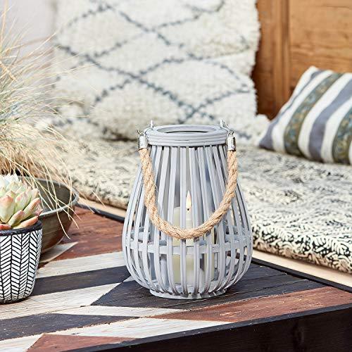 Lights4fun Graue Bambus Laterne inkl. TruGlow® Kerze mit Timer für Innen & Außen 22cm