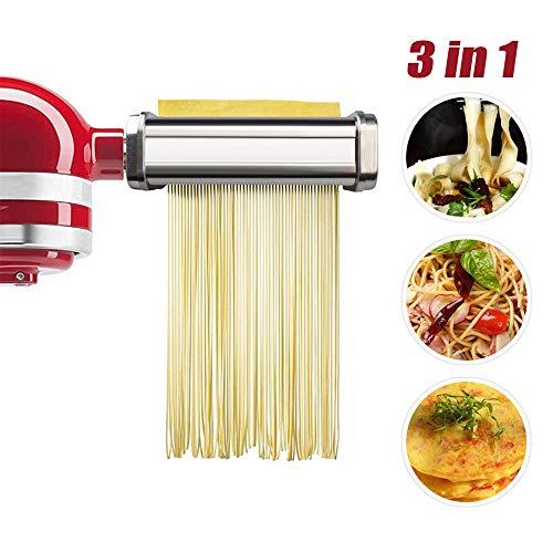 aikeec Pasta-Roller & Cutter Aufsatz 3-in-1 Nudelaufsatz Set für KitchenAid Standmixer, inklusive Nudelroller, Pasta Set Zubehör,Spaghettischneider, Fettuccine Cutter