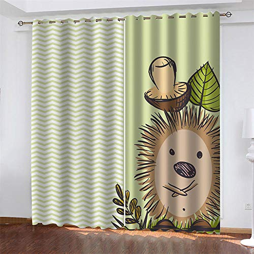 BFKJQ Blackout Curtain Eyelet Curtain Thermal Curtain 3D Digital Printing Hedgehog 2 Piece Perforated Curtains Sets - Kids Bedroom Living Room Home Decoration 59x65.4inch