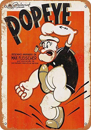 Popeye Cartoon Metall Blechschild Retro Metall gemalt Kunst Poster Dekoration Plaque Warnung Bar Cafe Garage Party Game Room Hauptdekoration