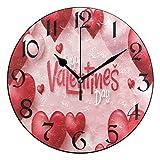 Jacque Dusk Reloj de Pared Moderno,Día de San Valentín Roj