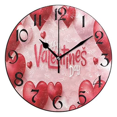 Jacque Dusk Reloj de Pared Moderno,Día de San Valentín Rojo Rosa corazón Flores Amor,Grandes Decorativos Silencioso Reloj de Cuarzo de Redondo No-Ticking para Sala de Estar,25cm diámetro