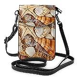 QQIAEJIA Seashell Landscape On The Beach Impresión Monedero pequeño para teléfono celular Bolso bandolera pequeño Mini bolso para teléfono celular Bolso bandolera