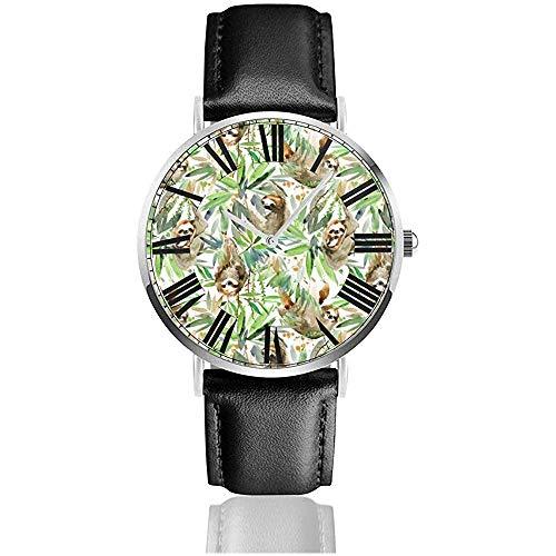 Uhr Armbanduhr Aquarell Faultier Tropenpflanze Klassisch Lässig Quarz Schwarz Leder Armband Uhr Business Uhren