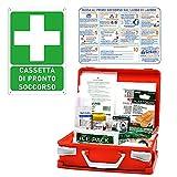 gisinti kit cassetta pronto soccorso all.2 per aziende sotto 3 lavoratori gruppo c + cartello pvc 30x20 cassetta colore arancio
