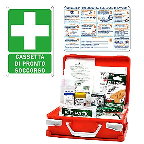 Gisinti Kit de cajas de primeros auxilios + cartel PVC 30 x 20 (menos de 3 empleados, grupo C)