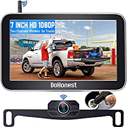 """""""DoHonest V29 HD 1080P Digital Wireless Backup Camera 7 Split Screen Monitor for Trucks,Cars,Campers,Vans, Observation System with Stable Signal,IP69 Waterproof,Super Night Vision,Guide Lines On/Off"""""""