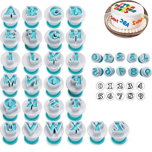Alfabet & cijfers Fondant Cake Biscuit Mold, Cookie Stamp Impress, Alfabet Letters Cake Tool, Embosser Cutter, Upper Case Numbers vorm DIY Cookie Biscuit