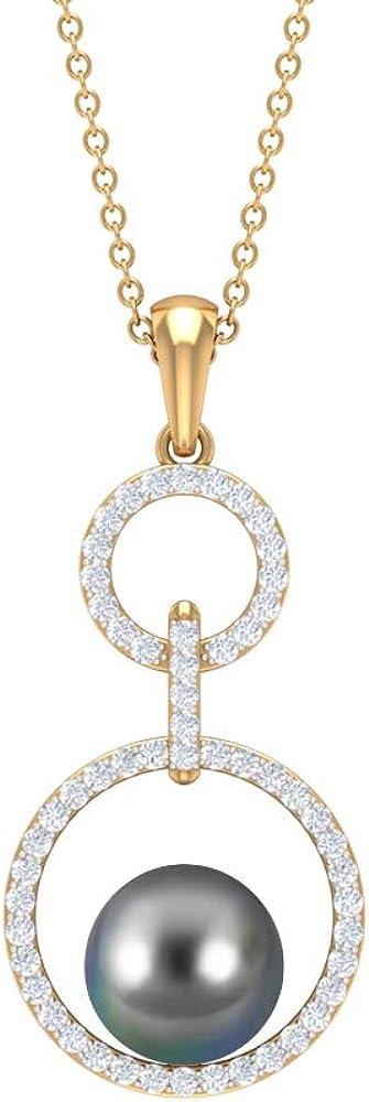 Round Shape 4.5 CT Tahitian Pearl Pendant, Diamond Open Circle Long Chain Pendant, Solitaire Black Pearl Necklaces, Drop Charm Pendants