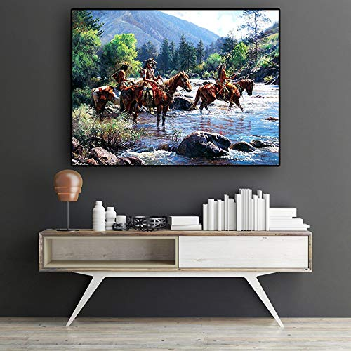 Geiqianjiumai olieverfschilderij, abstract, met een Indiase aborigineel landschap en een fotokunst