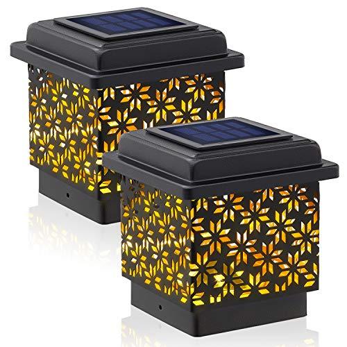 Siedinlar Luces LED Solares para Exteriores Luz de Tapa de Poste Luz LED Metal Impermeable para Jardín Valla Patio 3.5x3.5 pulgadas Postes de madera (2 Piezas)