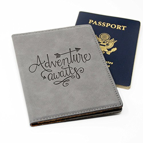 Passport Holder Gray Adventure Awaits Laser Engraved Passport Cover