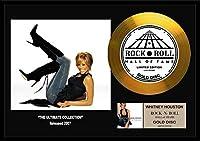 ホイットニー・ヒューストン/Whitney Houston/gold disc album/金ゴールド ディスク/platinum disc album/プラチナディスク証明書付きフレーム/ディスプレイ/cd (The Ultimate Collection-11, GOLD DISC)