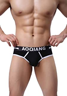 AOQIANG Mens Underwear Cotton Briefs Mesh Front with Cover Hipster