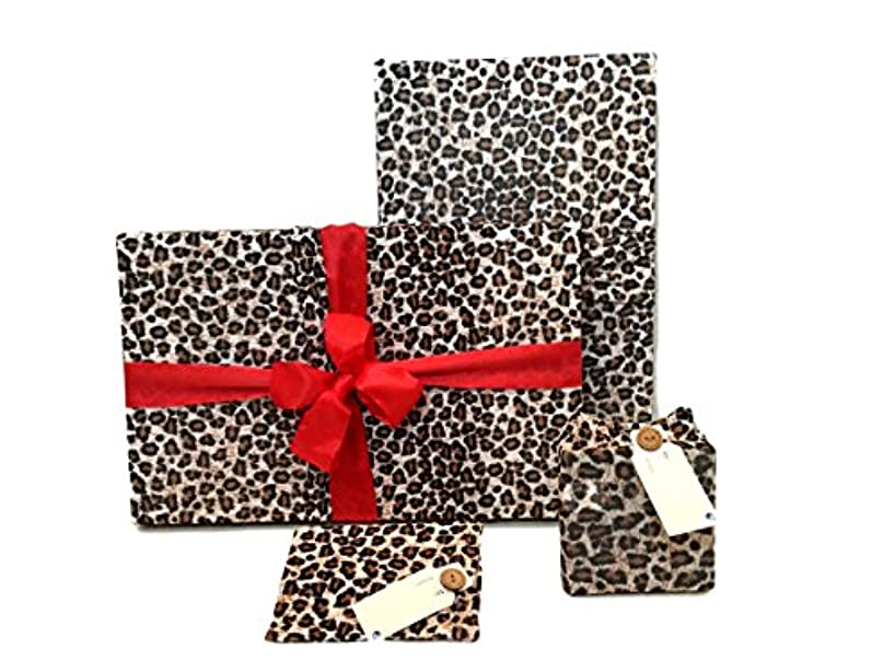 Gift Wrap Pack - Stretchy Fabric, Reusable and Eco Friendly - Leopard Animal Print (4 Pack 2 Medium, 2 Gift Card Holders)
