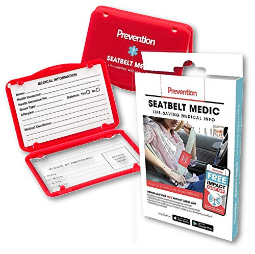 Prevention Seatbelt Medic | Life-Saving Medical Info Card Holder | 2 Medical Information Cards Included | Attaches to Vehicle Seatbelt | Alerts Emergency Responders | Includes Free Emergency Alert App