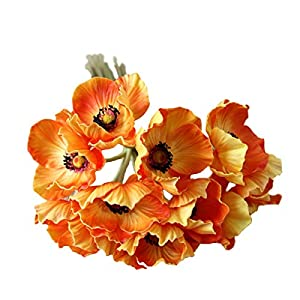 LebriTamFa 10 Stems Artificial Poppies Real Touch PU Fake Latex Flowers for Wedding Holiday Bridal Bouquet Home Party Decor