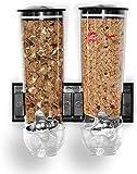 Dispensador de cereales y alimentos secos de doble pared con bandeja integrada para derrames para el hogar, cocina, encimeras, desayuno, comida para mascotas, dulces y comidas (blanco doble)