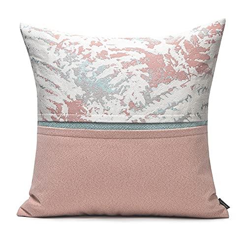 HOUMEL Cojín de cojín Pink Patrón Abstracto Puntando Tiffany Blue Blue Modern Square Pillow Funda de Almohada con Relleno Sofá Sala de Estar Accesorios Decorativos 45 x 45cm 405