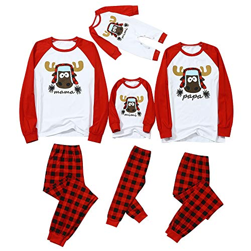 STORTO Christmas Pajamas for Family Women's Men's Family Matching Winter Holiday Pajama Collection, Letter Deer