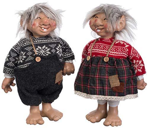 Brandsseller Deko Weihnachts/Winter Wichtel Pärchen Set Mann und Frau ca. 37 cm Hoch Zwerg Gnom Rot/Grau