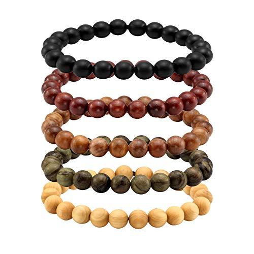 MILAKOO 5 Pcs Wood Prayer Bead Bracelet Mala Beaded Bracelets for Men Women 8mm