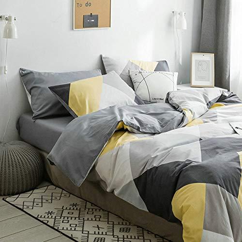 DSHRTY Vierteiliger Anzug,Vierteilige Bettdecke Wunderschöner Bettbezug aus Bettwäsche aus Reiner Baumwolle aus dunkelgrüner Baumwolle, J, 2,0 m