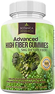Botanica Research Adult Fiber Gummies For Women, Men. Advanced Prebiotic Chewable Insoluble Chicory Root Extract Dietary Inulin Fiber Supplement To Promote a Healthy Skinny Belly For Optimal Digestive