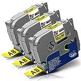 3x Labelwell 18mm x 8m Sostituzione Nastro Compatibile per Brother Tz TZe-S641 TZeS641 Nero su Giallo Adesivo Rinforzato per Brother PT-D450VP PT-D400 PT-E300VP PT-E500VP PT-P900W PT-P950NW